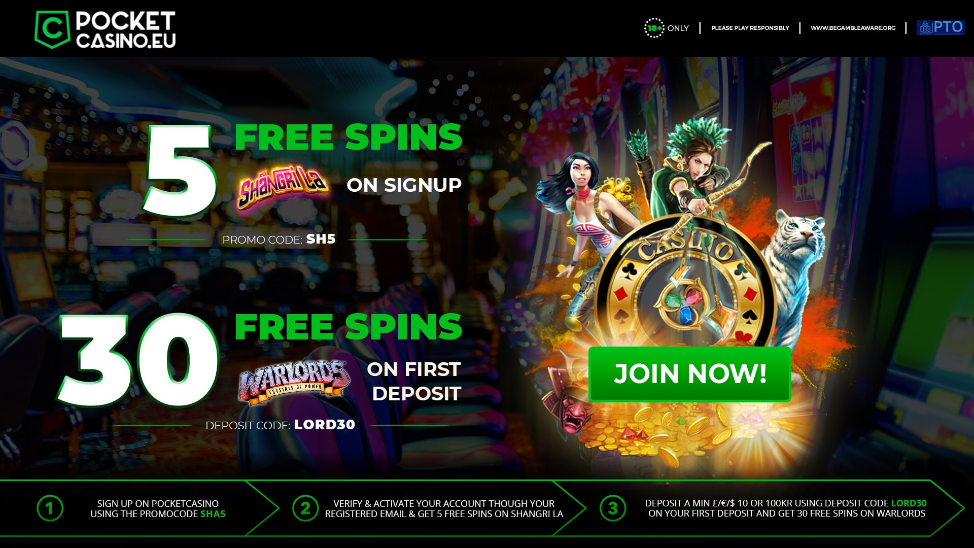Get Free Spins On Shangri La And Warlords Slot Games